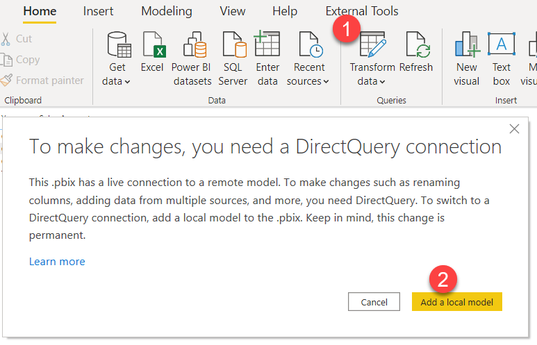 Transform Data Direct Query connection